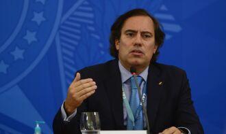 O presidente da Caixa, Pedro Guimarães, realizou uma entrevista virtual (Foto: Marcello Casal Jr./Agência Brasil)