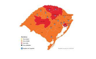 O mapa traz cinco regiões em bandeira vermelha (Imagem: Divulgação)