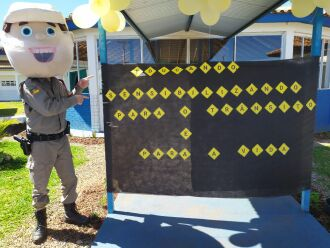 Ação contou com a presença do mascote da Brigada Militar (Foto: Divulgação/Brigada Militar)