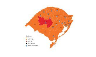 Apenas a região de Santa Maria está em bandeira vermelha (Imagem: Divulgação)