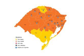 Bagé, Palmeira das Missões e Pelotas passaram para bandeira amarela (Imagem: Divulgação)