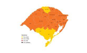 Rrês regiões estão em risco baixo, em cor amarela (Imagem: Divulgação)