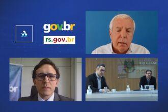 Coutinho, presidente do Banrisul; Monteiro, secretário de Governo Digital; Stoffel, diretor-geral do EDP; e o secretário Gastal durante coletiva (Foto: Reprodução)