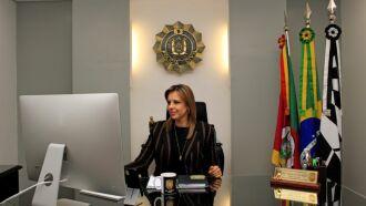 Nadine ocupava o cargo de vice-presidente executiva da entidade que passa a presidir para o biênio 2021/2023 - Foto: Raquel Barcellos / Polícia Civil
