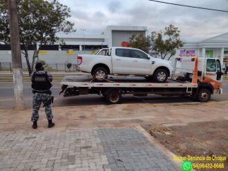O veículo recuperado foi removido ao depósito do Detran para posteriormente ser restituído ao proprietário (Foto: Divulgação/Brigada Militar)