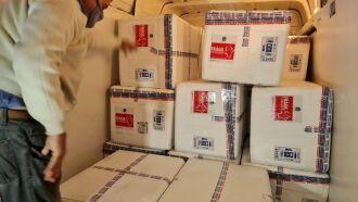 Remessas de AstraZeneca e Pfizer enviadas pelo Ministério da Saúde chegaram em dois voos no fim da tarde desta terça (20) (Foto: Itamar Aguiar / Palácio Piratini)