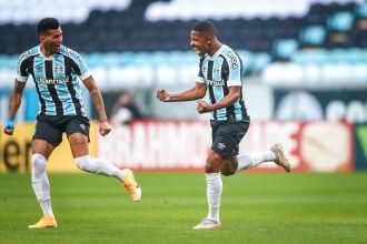 O primeiro gol da partida foi marcado por Guilherme Guedes (Foto: Lucas Uebel | Grêmio FBPA)