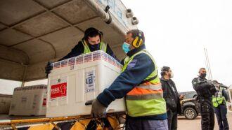 Na manhã desta quarta-feira (4/8), 51.400 doses de vacina Coronac chegaram ao RS (Foto: Rodger Timm/Palácio Piratini)