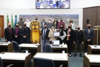 Vereadores fizeram a entrega daplaca de Honra ao Mérito ao COMDICA, pelos 30 anos de importantes serviços prestados à comunidade (Foto: Comunicação Digital/CMPF)