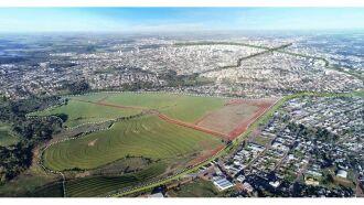 Vista aérea onde será construído o novo bairro, às margens da ERS 324