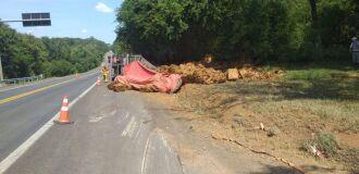 O caminhão que Marcelo conduzia saiu da pista e tombou na tarde de quinta-feira