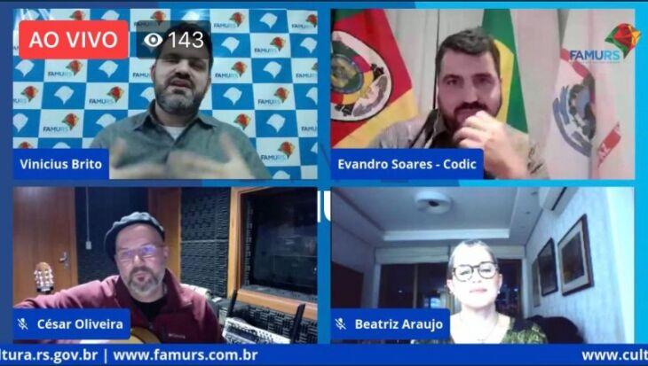 Programa Pacto Cultural foi transmitido pela TVE e pelas redes sociais da Sedac e da Famurs (Foto: Ascom Sedac)