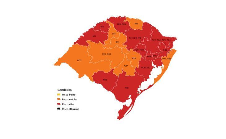 12 regiões do estado estão com bandeira vermelha (Imagem: divulgação)