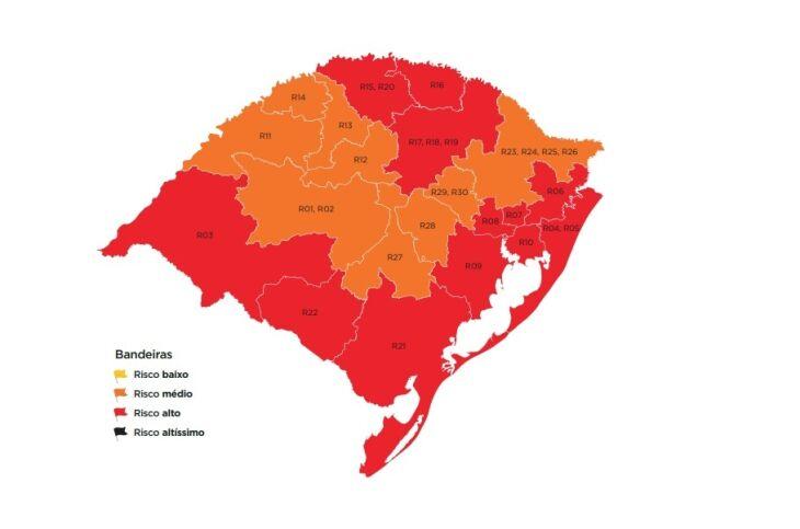 12 regiões do estado foram classificadas em bandeira vermelha (Imagem: Divulgação)