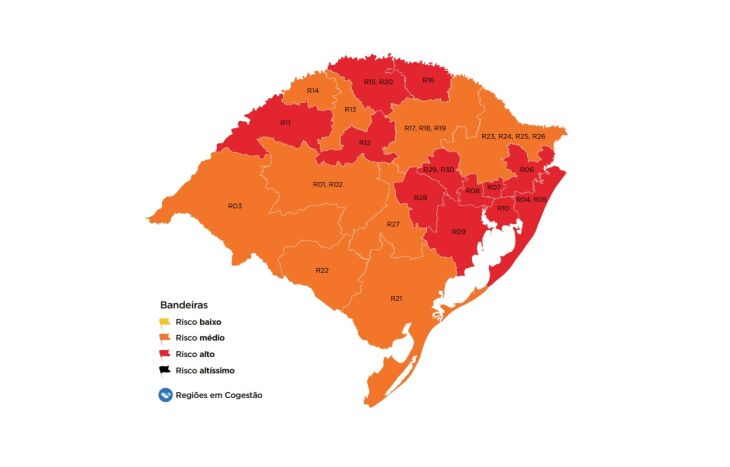 12 regiões do estado estão em bandeira vermelha (Imagem: Divulgação)