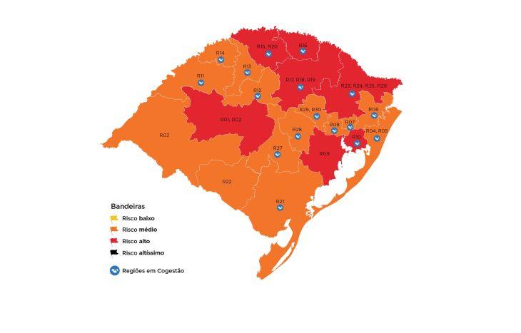 Sete regiões estão em bandeira vermelha no mapa (Imagem: Divulgação)