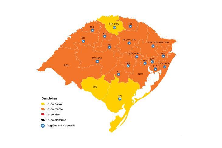 As regiões de Bagé, Palmeira das Missões e Pelotas passaram para bandeira amarela (Imagem: Divulgação)