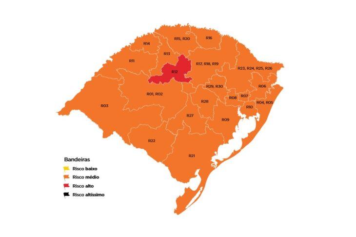 Apenas uma região do estado está em bandeira vermelha (Imagem: Divulgação)