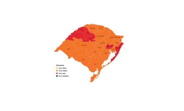 Sete regiões do estado estão em bandeira vermelha (Imagem: Divulgação)