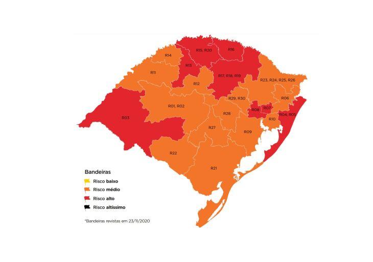 O Rio Grande do Sul tem oito regiões em bandeira vermelha e 13 em bandeira laranja (Imagem: Divulgação)