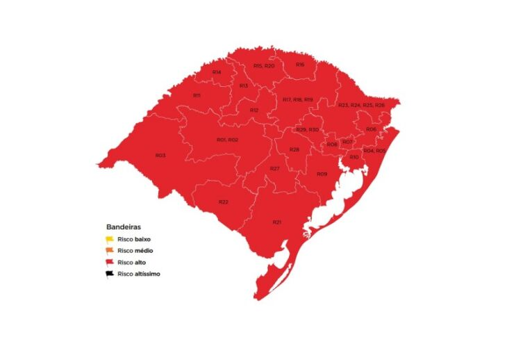 Pela primeira vez, todas as regiões foram classificadas em bandeira vermelha (Imagem: Divulgação)