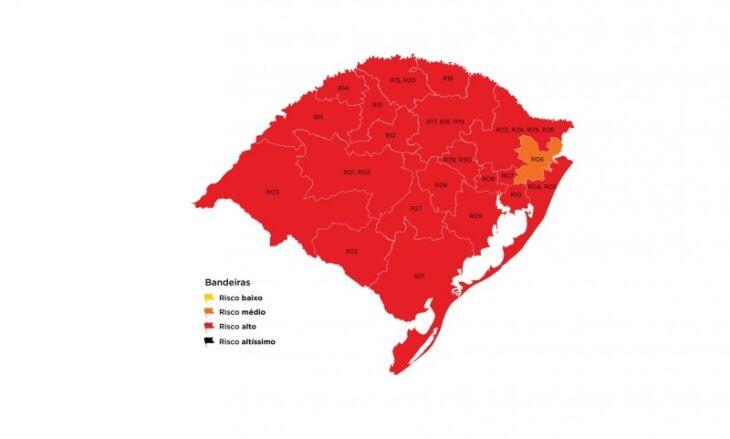 20 regiões ficaram em em bandeira vermelha (Imagem: Divulgação)