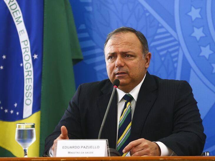 O ministro da Saúde, Eduardo Pazuello, concedeu entrevista coletiva após anúncio do Plano Nacional de Operalização de Vacinação (Foto: Marcelo Camargo/Agência Brasil)