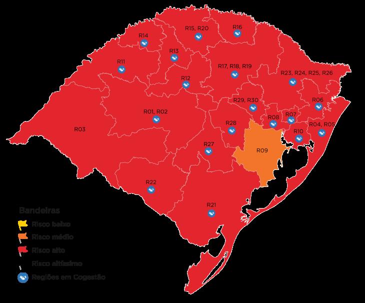 Apenas a região de Guaíba ficou com bandeira laranja (risco médio) no mapa definitivo (Imagem: Divulgação)