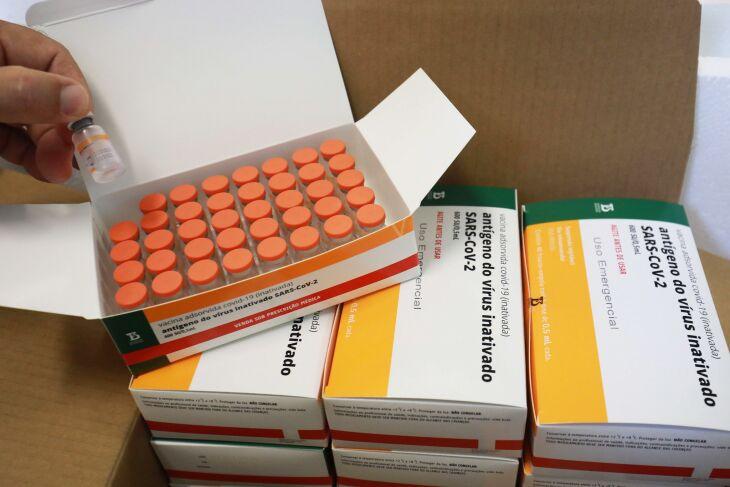 As vacinas distribuídas são provenientes do Instituto Butantan (Foto: Itamar Aguiar / Palácio Piratini)