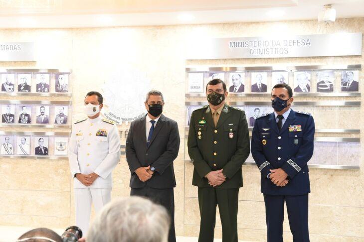 O anúncio foi feito de forma breve no Ministério da Defesa (Foto: Alexandre Manfrim/Centro de Comunicação Social da Defesa)