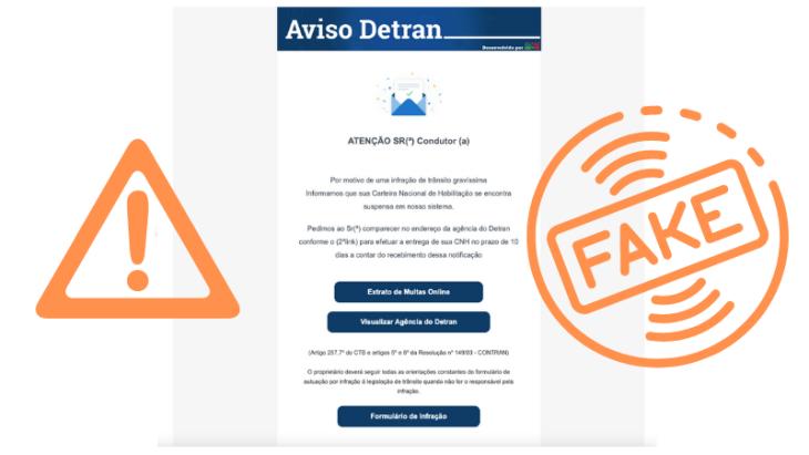 Os e-mails falsos solicitam dados pessoais e enviam links com vírus (Imagem: DetranRS)