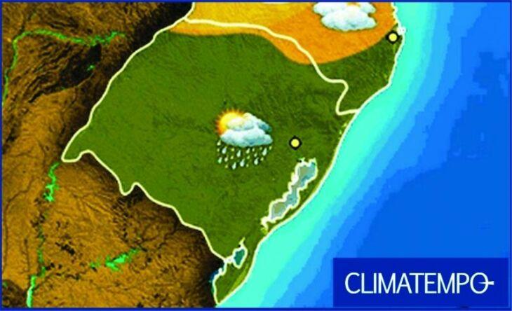 Mapa mostra chuva sobre quase todo o RS nesta terça