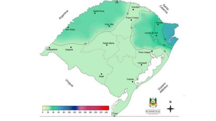 Chuva prevista (mm) entre 29 de março e 4 de abril
