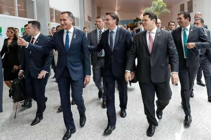 O presidente Jair Bolsonaro durante inauguração do novo terminal de passageiros do Aeroporto Internacional de Macapá