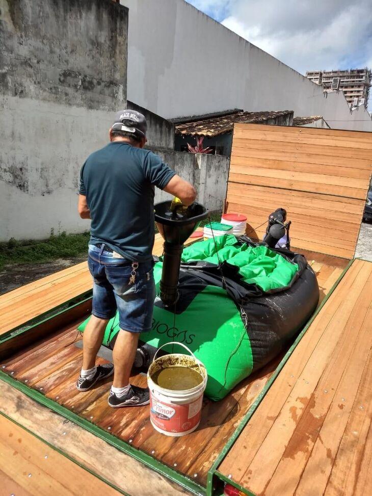 A unidade pode armazenar até 700 litros de biogás Crédito: